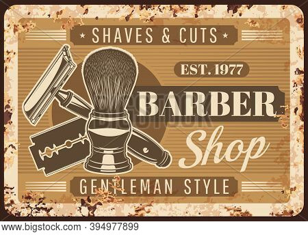 Barbershop, Hairdresser Salon Rusty Metal Plate. Shaving Brush With Antique Handle, Classic Safety R