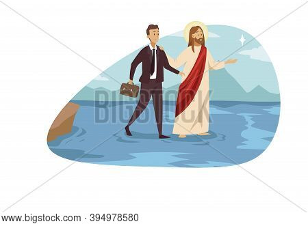 Support, Christianity, Business Success Concept. Jesus Christ Religious Biblical Cartoon Character S