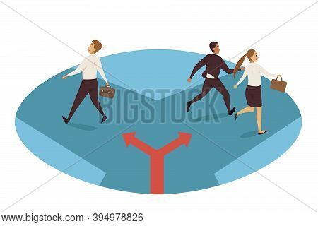 Business, Path Choice, Separation Direction Concept. Businessman Clerk Manager Leader Separating Fro