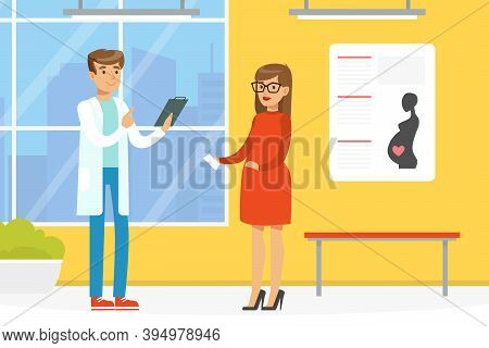 Pregnant Woman Having Consultation With Doctor, Prenatal Medicine, Physician Recommendations Concept