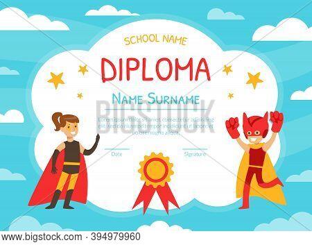 Superhero Award Diploma Template, Preschool, Kindergarten Children Certificate, Happy Boy And Girl D