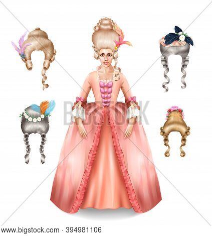 Elegant 18 Century Woman With Rococo Wigs Collection Styled With Colorful Feathers Flowers Realistic