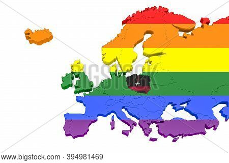 3d Europe Map In Lgbt Colors - Poland Marked As A Country Unfavorable To Lgbt People - Concept Art O