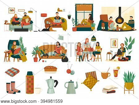 Cozy Home Icons Set With Cushions Pot Socks Plant Clew Books Pie And Resting People Flat Isolated Ve