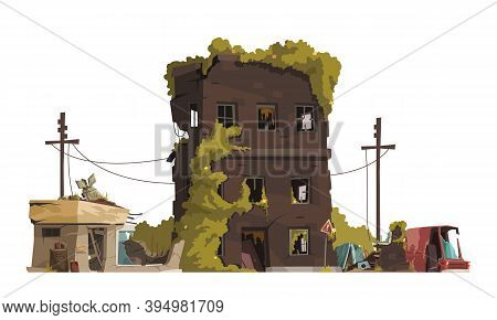 Post Apocalypse City Cartoon Vector Illustration Of Ragged Line Of Electricity Transmission And Aban