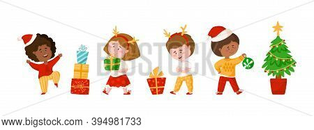 Christmas Or New Year Kids Clipart - Cartoon Boy And Girl, Christmas Tree, Gift Boxes And Festive De