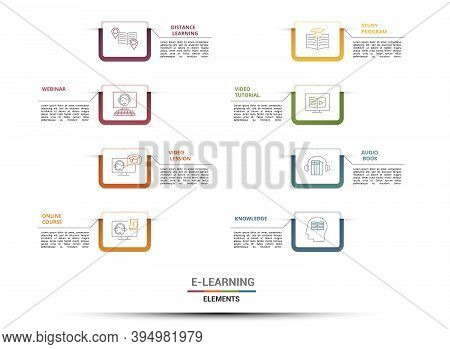 Infographic E-learning Template. Icons In Different Colors. Include Distance Learning, E-learning, B