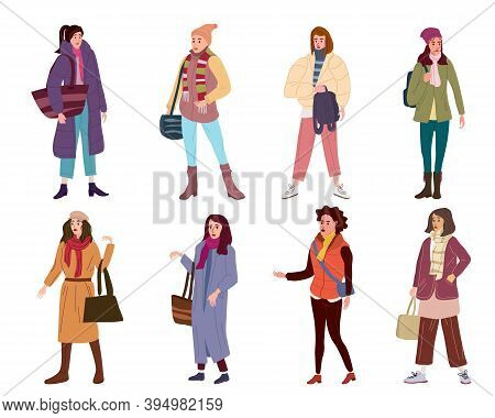 Set Young Womans Characters In Trendy Clothes Street Fashionable Style Outwear Female. Trendy Vector