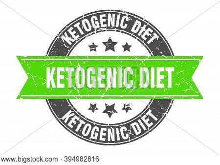 Ketogenic Diet Round Stamp With Ribbon. Label Sign