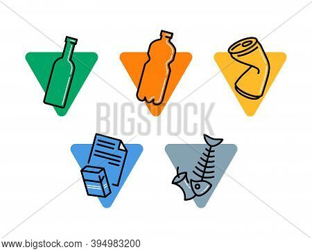 Waste Sorting And Garbadge  Separation Pictogram Set - Dumpster Marking Stickers - Glass, Plastic, M