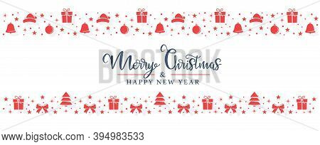 Christmas Red Symbols Are Randomly Arranged On A White Background In The Form Of Stripes. Christmas
