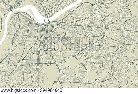 Detailed Map Of Memphis City Administrative Area. Royalty Free Vector Illustration. Cityscape Panora
