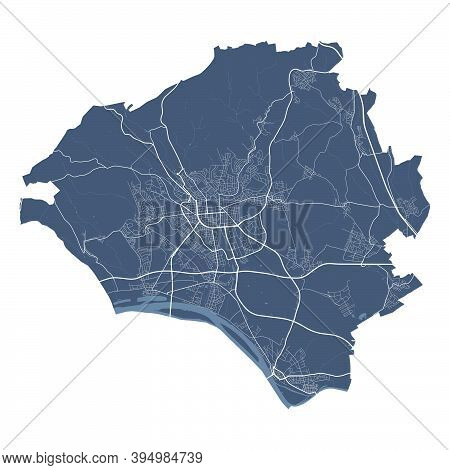 Wiesbaden Map. Detailed Vector Map Of Wiesbaden City Administrative Area. Cityscape Poster Metropoli