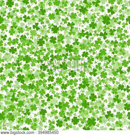 Seamless Shamrock Or Clover Leaves Flat Design Green Backdrop Pattern Vector Illustration Isolated O