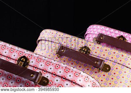 Prague,czech Republic - 11 November,2020: Sass & Belle Set Of Children's Suitcases On The Black Back