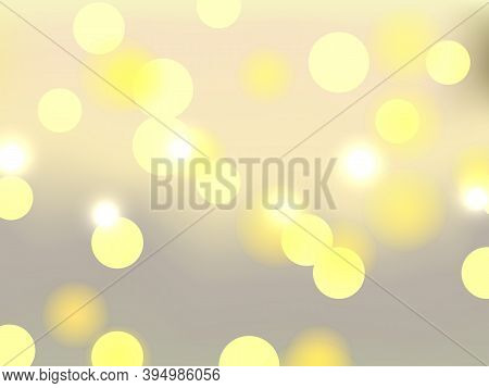 Light Yellow Bokeh Lights. Blurred Bright Abstract Bokeh On Color Background. Festive Defocused Ligh