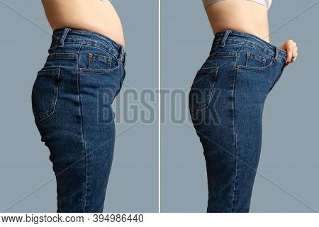 Female Body Before And After Weight Loss, Diet Concept. Woman Is Measuring Waist. Belly And Legs In