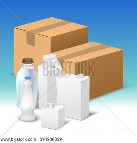 Vector Composition Of Realistic Milk Packaging Templates On Blue Gradient Background. White Creative