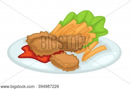 Chicken Cutlet With French Fries Ketchup And Lettuce On Plate