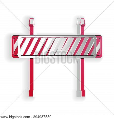 Paper Cut Road Barrier Icon Isolated On White Background. Fence Of Building Or Repair Works. Hurdle
