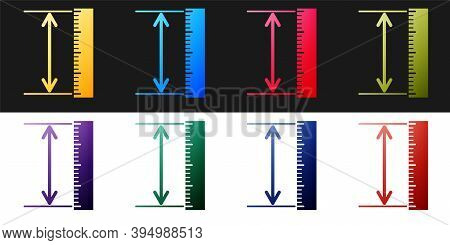 Set The Measuring Height And Length Icon Isolated On Black And White Background. Ruler, Straightedge