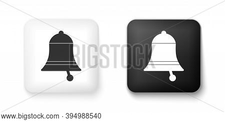 Black And White Ringing Bell Icon Isolated On White Background. Alarm Symbol, Service Bell, Handbell