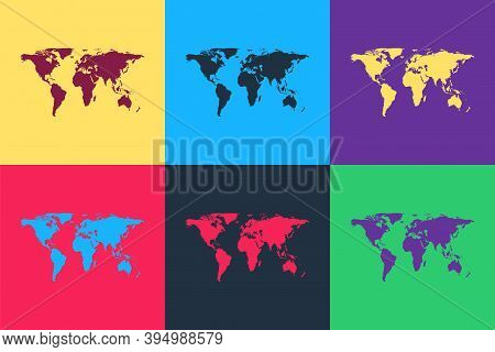 Pop Art World Map Icon Isolated On Color Background. Vector