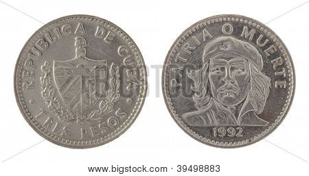 Cuban three pesos coin depicting Ernesto Che Guevara. Obverse and reverse isolated on white.