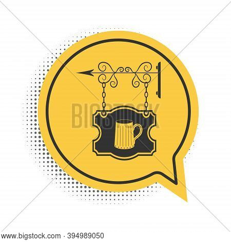 Black Street Signboard On Forged Brackets With Wooden Mug Of Beer Icon Isolated On White Background.