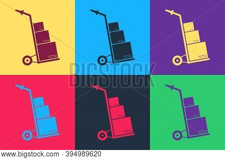 Pop Art Hand Truck And Boxes Icon Isolated On Color Background. Dolly Symbol. Vector