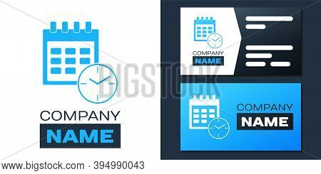 Logotype Calendar And Clock Icon Isolated On White Background. Schedule, Appointment, Organizer, Tim