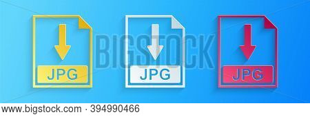 Paper Cut Jpg File Document Icon. Download Jpg Button Icon Isolated On Blue Background. Paper Art St