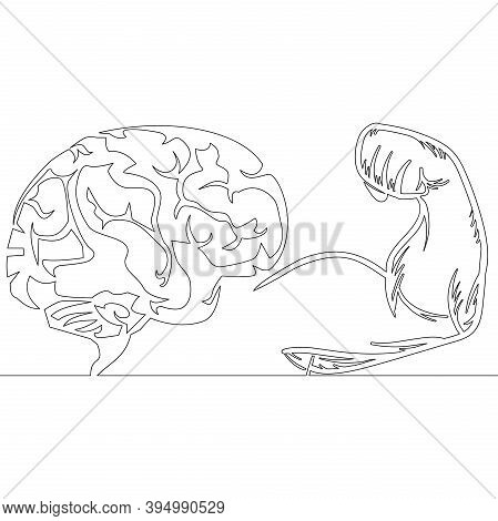 Continuous One Single Line Drawing Brain Self Discipline Icon Vector Illustration Concept