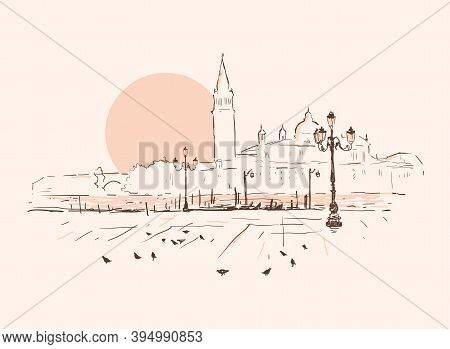 Piazza San Marco, Grand Canal, San Giorgio Maggiore Church. Sunset In Venice, Italy. Hand Drawn Sket