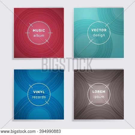 Abstract Plate Music Album Covers Collection. Semicircle Curve Lines Patterns. Colorful Plate Music