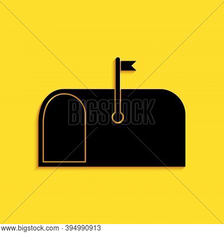 Black Mail Box Icon Isolated On Yellow Background. Mailbox Icon. Mail Postbox On Pole With Flag. Lon