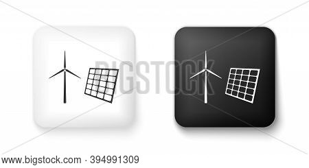 Black And White Wind Mill Turbines Generating Electricity And Solar Panel Icon Isolated On White Bac