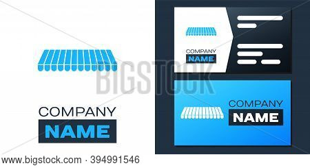 Logotype Striped Awning Icon Isolated On White Background. Outdoor Sunshade Sign. Awning Canopy For