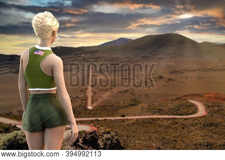 A Woman Looking The Plaine Des Sables, La Reunion Island, 3d Render