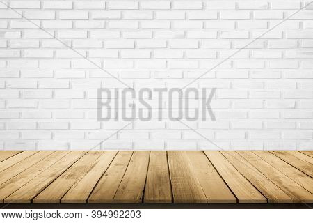 Empty Wooden Table On White Brick Background, Design Wood Terrace Floor Surface. 3d Illustration Of