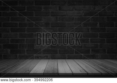 Empty Wooden Table On Black Dark Brick Wall Background, Design Wood Terrace Floor Surface. 3d Illust