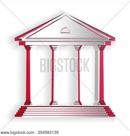Paper Cut Courthouse Building Icon Isolated On White Background. Building Bank Or Museum. Paper Art