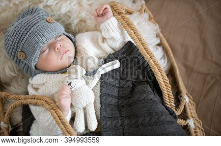 Portrait Of A Sleeping Baby In A Wicker Cradle In A Warm Knitted Hat Under A Warm Blanket With A Toy