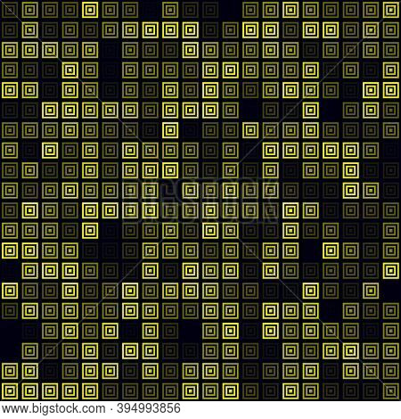 Abstract Technology Background. Filled Pattern Of Multiple Squares. Yellow Colored Seamless Backgrou