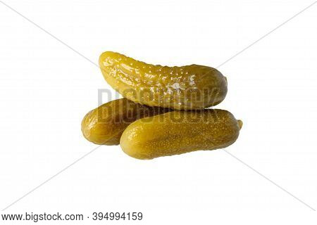 Delicious Crunchy Pickled Cucumbers Isolated. Gherkins On A White Background.