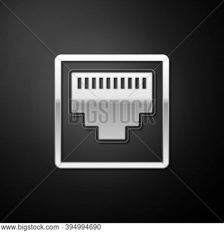 Silver Network Port - Cable Socket Icon Isolated On Black Background. Lan Port Icon. Ethernet Simple