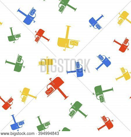 Color Open Mail Box With An Envelope Icon Isolated Seamless Pattern On White Background. Vector