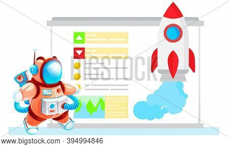 Cartoon Rocket Flies Into Space And Blows Smoke Or Water. Travel Across The Galaxy And The Universe.
