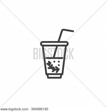 Mint Tea Cup Line Icon. Fresh Drink Linear Style Sign For Mobile Concept And Web Design. Mojito Cock