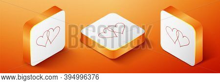 Isometric Two Linked Hearts Icon Isolated On Orange Background. Heart Two Love. Romantic Symbol Link